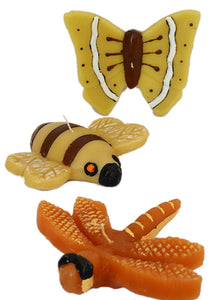 Set 3 Assorted Bee, Dragonfly & Butterfly Shape Figural Candles in Individual Gift Boxes