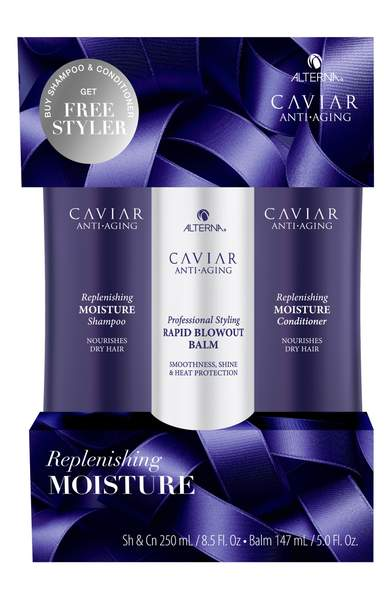 Alterna Caviar Anti Aging Replenishing Moisture Shampoo and Conditioner 8.5 oz with Free Styler - DealsandLiquidations.com