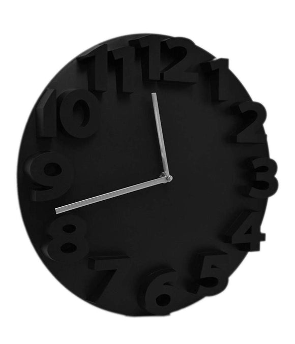 Retro Embossed Numbers Black Designer Kitchen Wall Clock - DealsandLiquidations.com