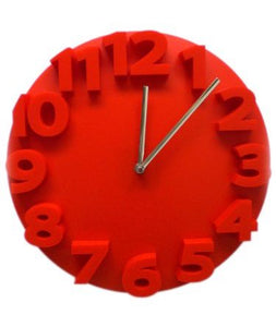 Retro Embossed Numbers RED Designer Kitchen Wall Clock