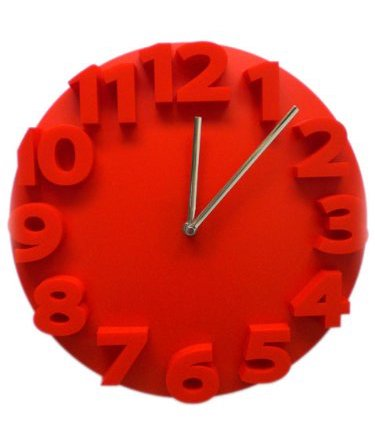 Retro Embossed Numbers RED Designer Kitchen Wall Clock - DealsandLiquidations.com