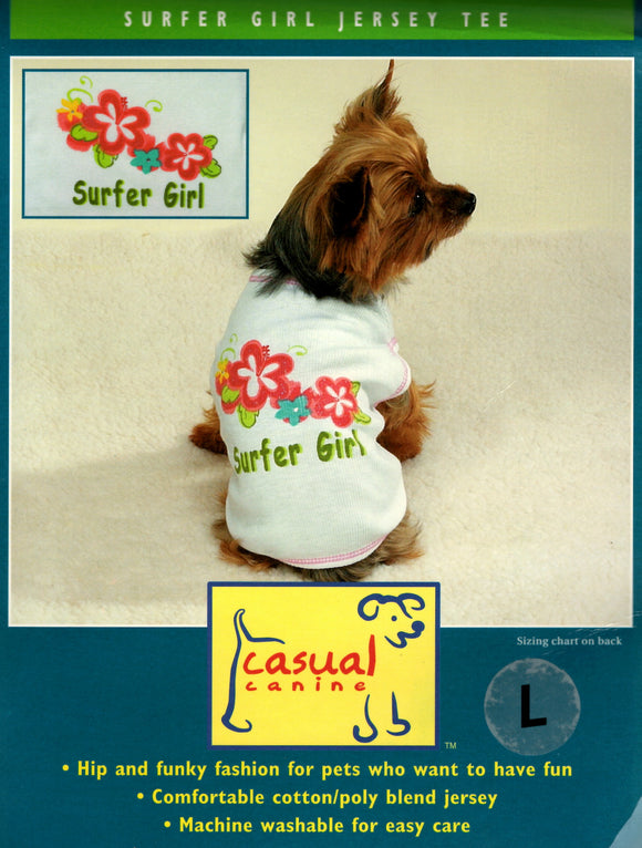 CASUAL CANINE SURFER GIRL JERSEY TEE - DealsandLiquidations.com