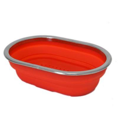 Red Silicone & Stainless Steel Strainer Collapsible Colander