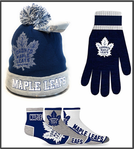Toronto Maple Leafs NHL Licenced Winter Bundle (Beanie,Gloves & Socks) Great Gift for All Leafs Lovers. GO Leafs GO