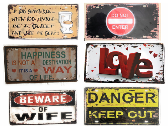 Vintage Decorative Metal Signs 6X12