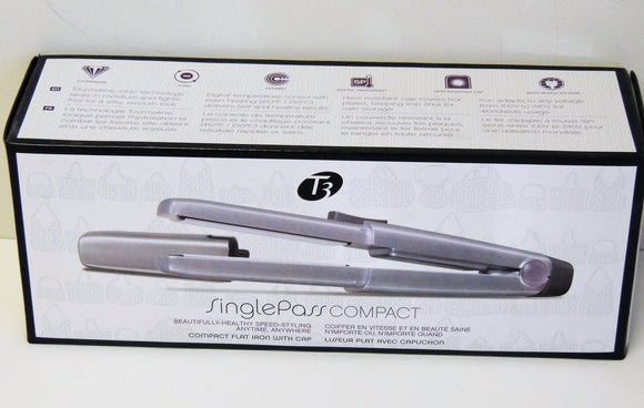 T3 SinglePass Compact Tourmaline Ceramic Flat Iron with Cap ( Model 73504) SILVER