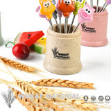 Cartoon Animal Food Fruit Picks Forks Stainless Steel Lunch Box Accessory Decor Tool Dessert Fruit Fork #251429