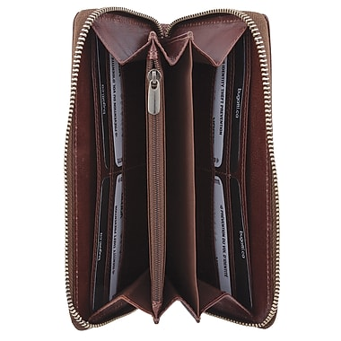 Bugatti Ladies Milled Vegetable Mahogany Leather Accordion Zip Wallet with Identity Block