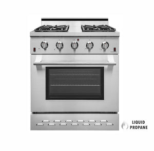 "NXR SC3055LP 30"" 4.5 cu.ft. Pro-Style Propane Gas Range with Convection Oven, Stainless Steel"