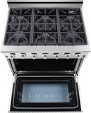 "NXR SC3611LP 36"" 5.5 cu.ft. Pro-Style Propane Gas Range with Convection Oven, Stainless Steel"