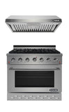 "NXR SC3611 36"" Natural Gas Range & EH3619 Under Cabinet Hood Bundle, Stainless Steel"