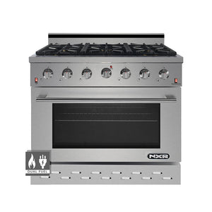 "NXR SCD3611 36"" 5.5 cu.ft. Pro-Style Dual Fuel Range with Convection Oven, Stainless Steel"