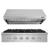 "NXR SCT3611 36"" Natural Gas Cooktop & RH3601 Under Cabinet Hood Bundle, Stainless Steel"