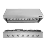 "NXR SCT4811 48"" Natural Gas Cooktop & RH4801 Under Cabinet Hood Bundle, Stainless Steel"