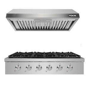 "NXR SCT3611 36"" Natural Gas Cooktop & EH3619 Under Cabinet Hood Bundle, Stainless Steel"