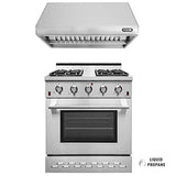 "NXR SC3055LP 30"" Propane Gas Range & RH3001 Under Cabinet Hood Bundle, Stainless Steel"