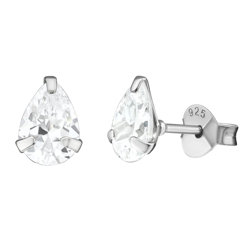 Solitaire Pear CZ Studs