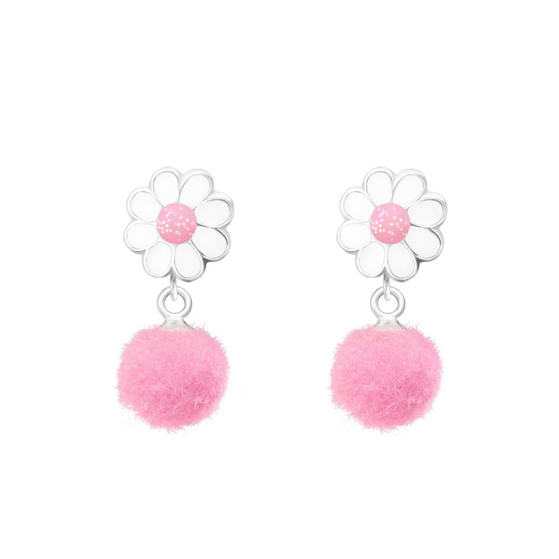 Flower Pompom Dangle Earrings
