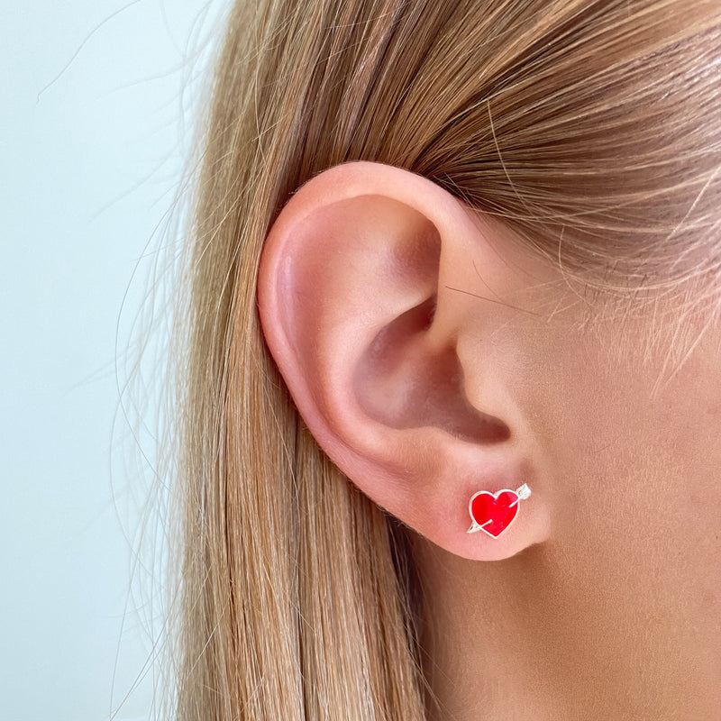 Cupid Heart and Heart Beat Studs