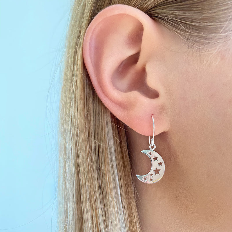Moon and Stars Dangle Earrings