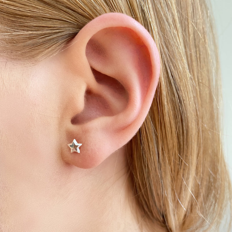 Puff Crescent Moon and Star Studs