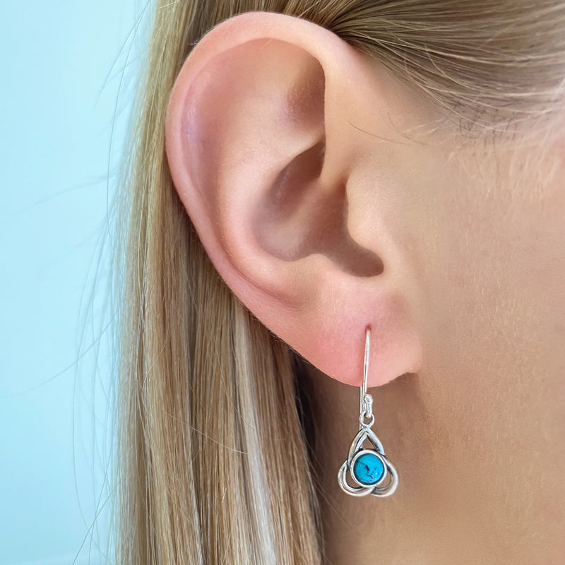 Trinity Knot Blue Turquoise Dangle Earrings