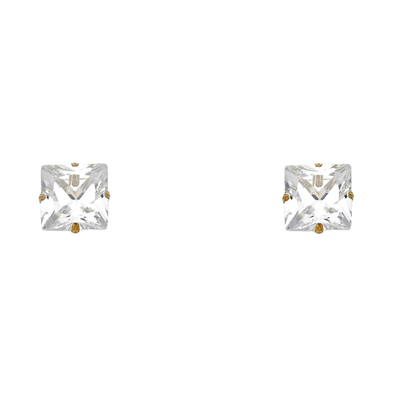 Square Solitaire Martini Studs