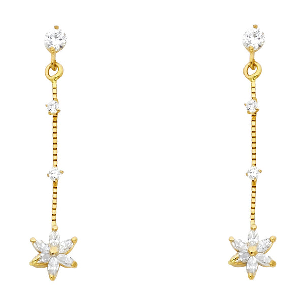 Flower CZ Drop Earrings