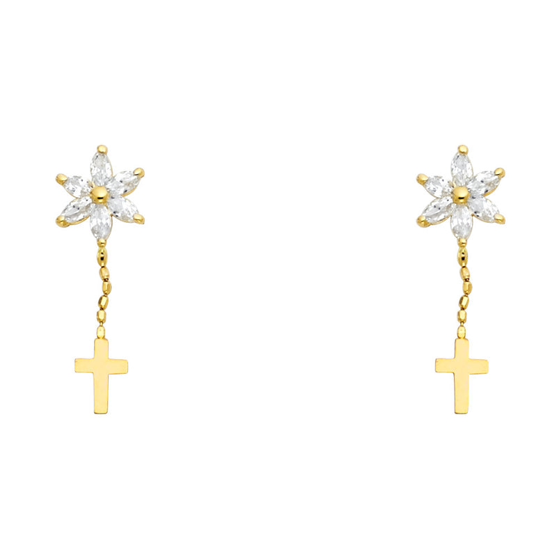 Cross & Flower drop Earrings