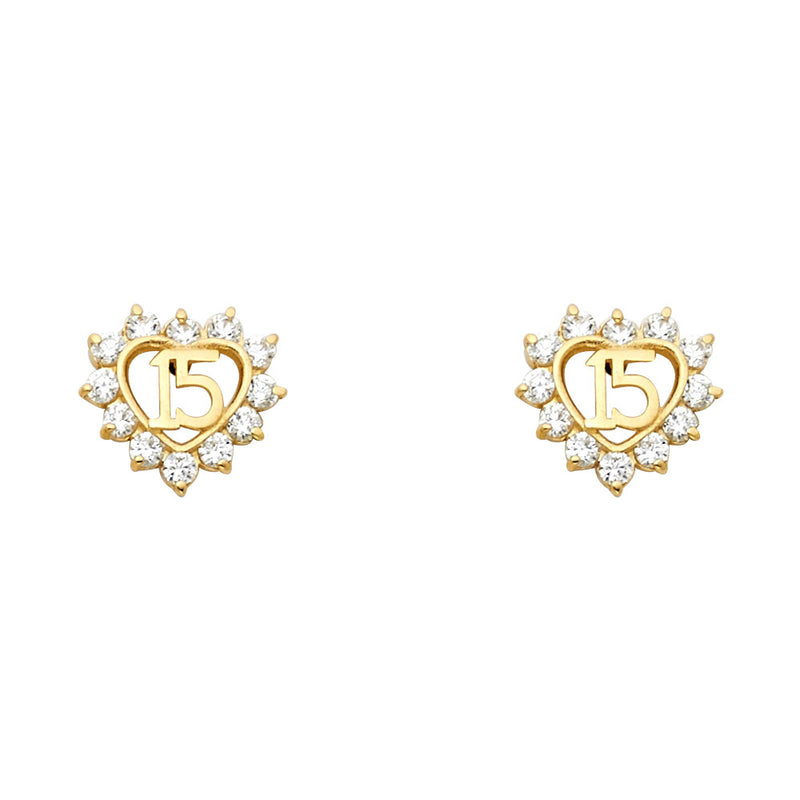 Quince Heart CZ Eternity Studs