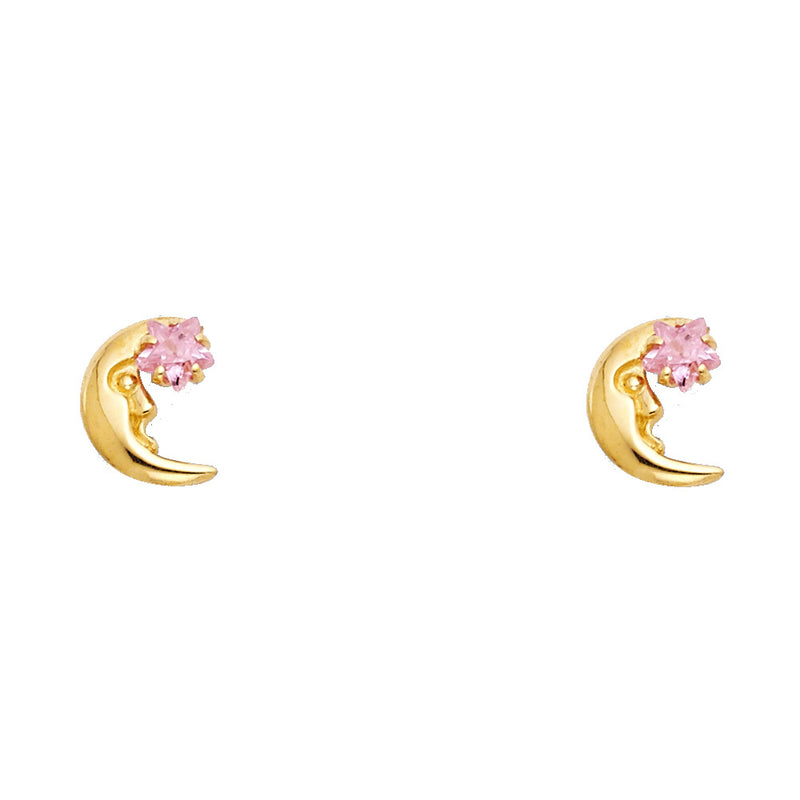 Crescent Moon and Star Studs