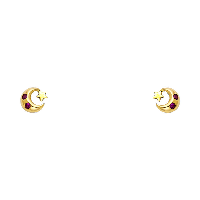 Moon and Little Star Studs
