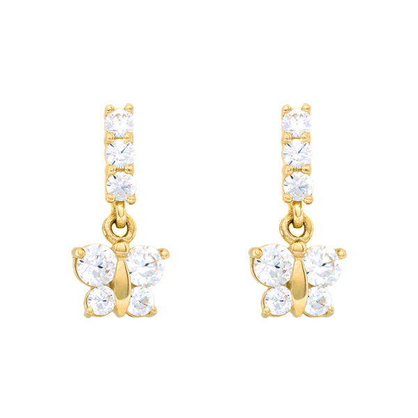 Butterfly Dangle CZ Earrings