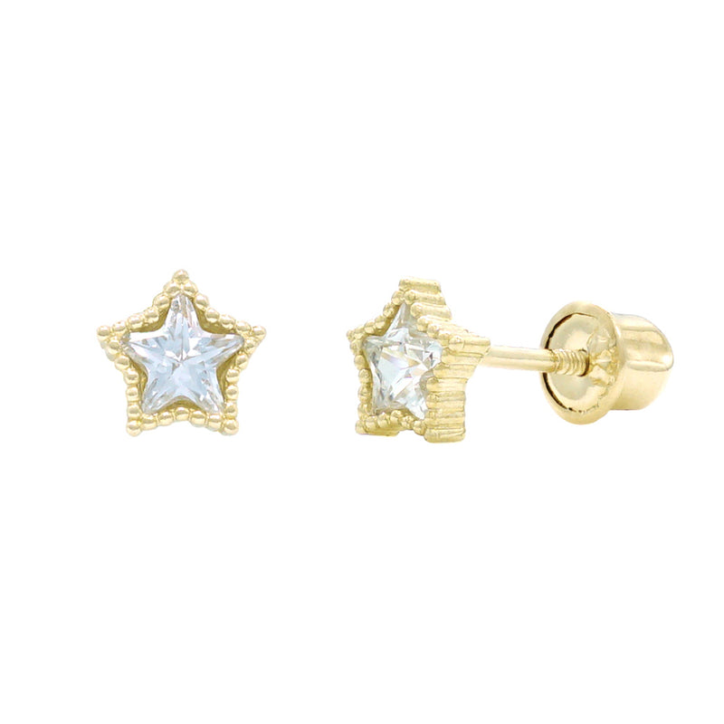 Star Beaded Bezel CZ Studs