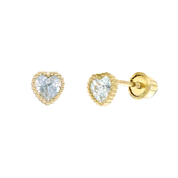 Heart Beaded Bezel CZ Studs