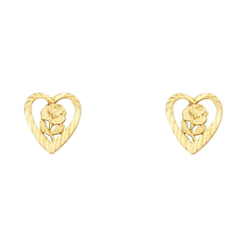 Open Heart Flower Studs