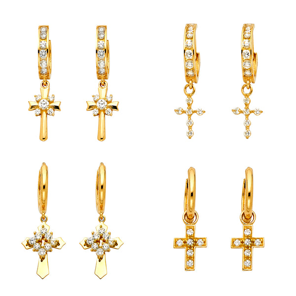 Cross Charm CZ Hoops