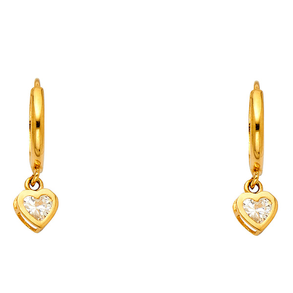 Dangling Heart CZ Huggies