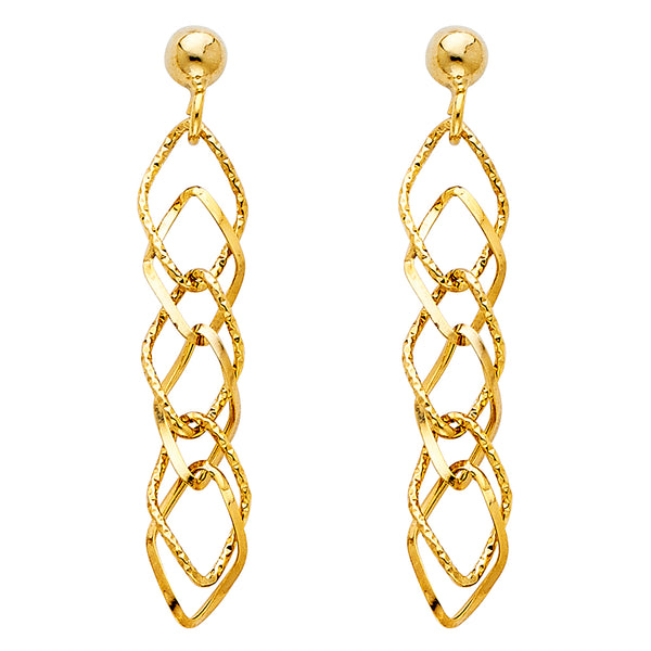 Intertwined Open Diamond Drop Earrings