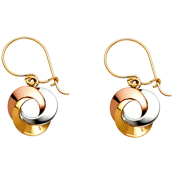 Triple Intertwined Circle Dangle Earrings