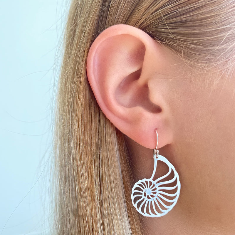 Ammonite Shell Dangle Earrings