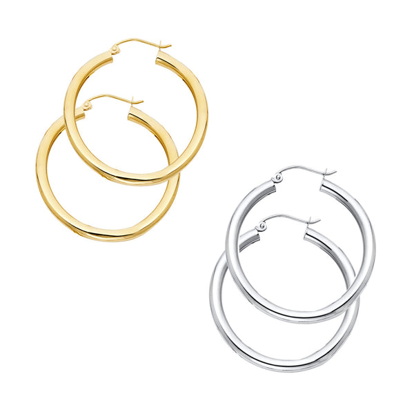 Plain Round Edge Hoops - 3 mm