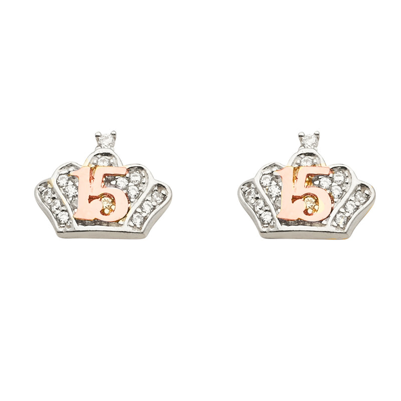 Quince Crown CZ Filled Studs