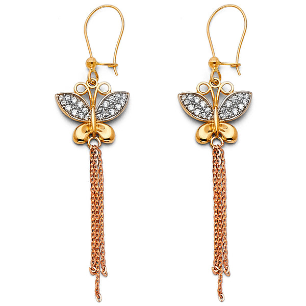 Butterfly Chain CZ Drop Earrings