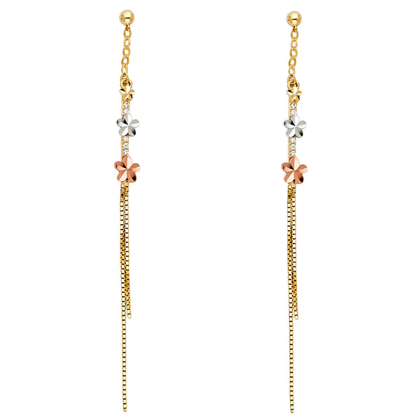 Small Flower CZ Drop Earrings