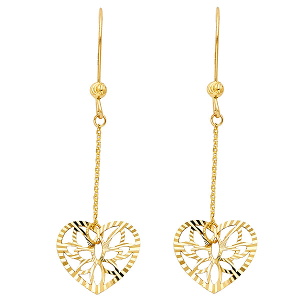 Flower Heart Drop Earrings