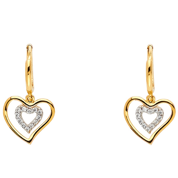 Double Heart CZ Dangle Earrings