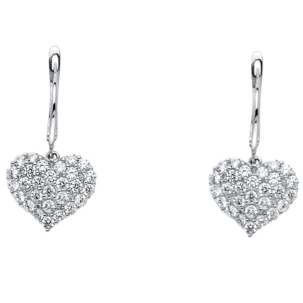 Heart CZ Filled Dangle Earrings