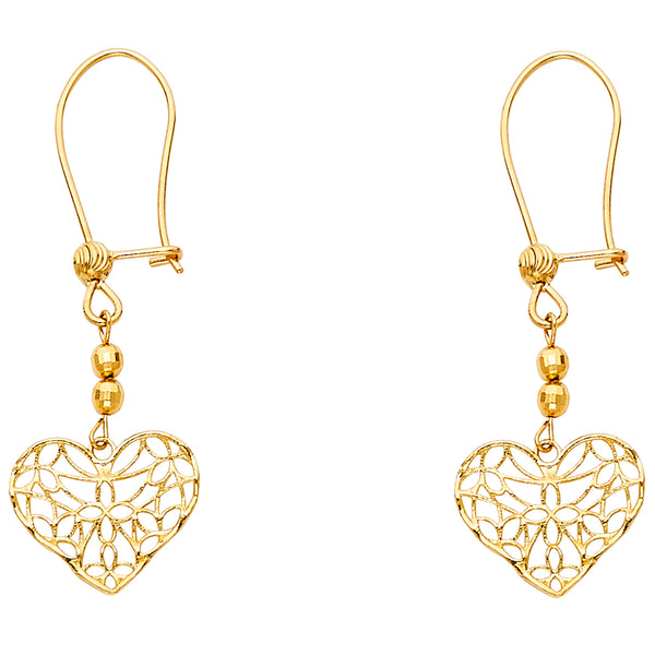 Heart Filigree Dangle Earrings