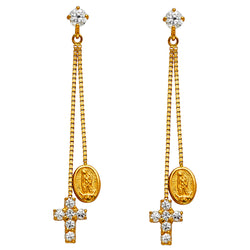 Cross Mary CZ Drop Earrings